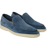 Loro Piana Summer Walk Suede Loafers Blue