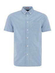 Criminal Penfold Mini Gingham Short Sleeve Shirt Blue