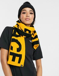 The North Face Logo Scarf In Yellow Black