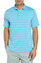 Bobby Jones Ferry Stripe Classic Fit Golf Polo Blue