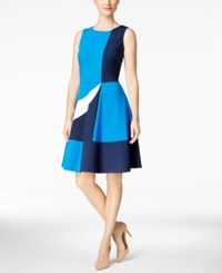 Charter Club Colorblocked Fit And Flare Dress Only At Macy's Deepest Navy Combo