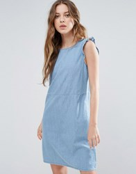 Blend She Mila Denim Frill Sleeve Dress Light Blue
