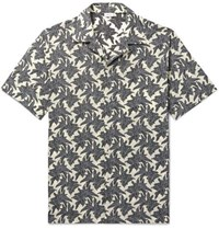 Brioni Camp Collar Printed Linen And Cotton Blend Shirt Black