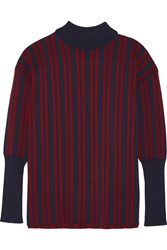 Tanya Taylor Timmy Striped Stretch Knit Turtleneck Sweater Red