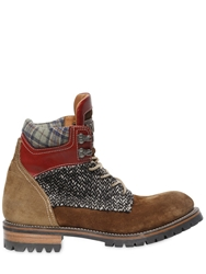 Dsquared Nubuck And Wool Boucle Boots Brown