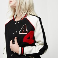 River Island Womens Petite Black Badge Varsity Bomber Jacket