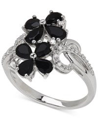 Macy's Onyx 1 1 4 Ct. T.W. And Diamond Accent Flower Ring In Sterling Silver