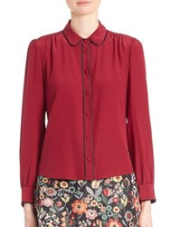 Red Valentino Silk Pleated Button Blouse Wine