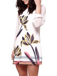 Yumi Floral Brushstroke Print Long Sleeve Dress Ivory
