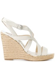 Michael Michael Kors Hastings Strappy Wedge Sandals Leather Rubber Nude Neutrals