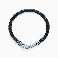 Tiffany And Co. Paloma Picasso Knot Single Braid Bracelet Of Sterling Silver Black Leather No Gemstone