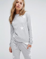 Daisy Street Holidays Applique Star Sweater Gray