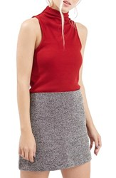 Women's Topshop Ribbed Mock Collar Tank Red