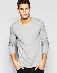 Asos Long Sleeve T Shirt With Scoop Neck In Grey Grey