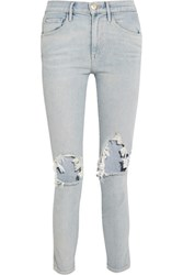 3X1 W3 Distressed High Rise Slim Leg Jeans Light Denim