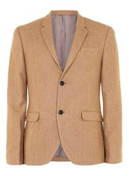 Topman Camel Wool Rich Skinny Fit Blazer Brown