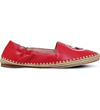 Tory Burch Darien Logo Detail Leather Loafers Red Other
