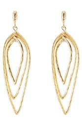 Kenneth Jay Lane Hammered Metal Layered Teardrop Earrings Gold