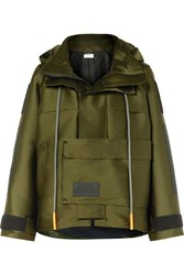 Palm Angels Hooded Canvas Parka Army Green