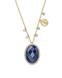 Meira T 14K Yellow Gold And 14K White Gold Blue Sapphire Pendant Necklace With Diamonds 16