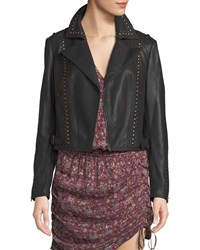 Ramy Brook Yomo Studded Leather Moto Jacket Black