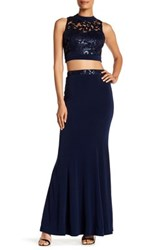 Speechless Floral Sequin Mock Neck Top And Maxi Skirt Set Blue