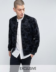 Noose And Monkey Flocked Bomber Charcoal Grey