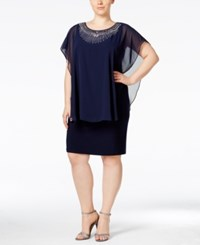 Betsy And Adam Plus Size Embellished Capelet Dress Navy