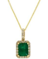 Effy Collection Brasilica By Effy Emerald 1 3 8 Ct. T.W. And Diamond 1 4 Ct. T.W. Pendant Necklace In 14K Gold Yellow Gold