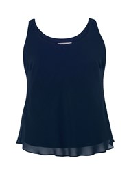Chesca Chiffon Camisole With Jersey Lining Navy