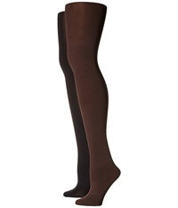 Hue Blackout Tights 2 Pack Espresso Black Hose Brown