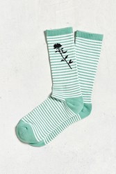 Urban Outfitters Rose Stripe Sport Sock Chartreuse