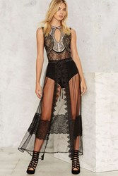 Unveiled Sheer Lace Wrap Skirt Black