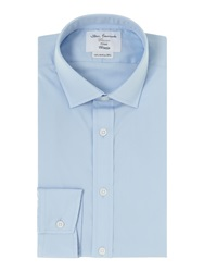 T.M.Lewin Poplin Fitted Shirt Blue