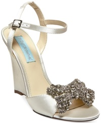 Blue By Betsey Johnson Dress Wedge Evening Sandals Women's Shoes Ivory