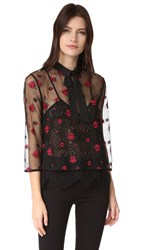 The Kooples Sheer Floral Blouse Black
