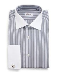 Brioni Contrast Collar Multi Stripe French Cuff Dress Shirt Gray Size 16