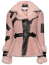 Alexander Mcqueen Belted Shearling Jacket Pink