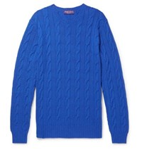 Ralph Lauren Purple Label Slim Fit Cable Knit Cashmere Sweater Royal Blue