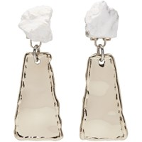 Proenza Schouler Gold And White Small Hammered Dangle Earrings