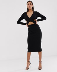 Bec And Bridge Madame Noir Cut Out Midi Dress Black