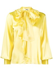 Msgm Pussy Bow Blouse Yellow