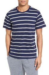 Daniel Buchler Men's Stripe T Shirt Navy Grey