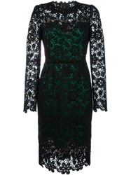 Dolce And Gabbana Floral Macrame Dress Black