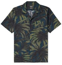Todd Snyder Slim Fit Camp Collar Printed Cotton Shirt Green