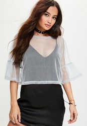 Missguided Silver Glitter Mesh Drop Sleeve Crop Top