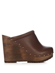 See By Chloe Clive Leather Wedge Clogs Brown