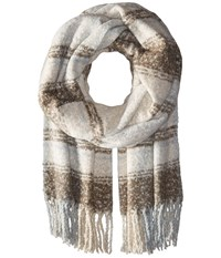 Free People Loveland Plaid Fringe Scarf Ivory Scarves White
