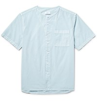 Saturdays Surf Nyc Pontus Collarless Cotton Poplin Shirt Sky Blue