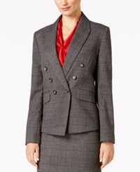 Tahari By Arthur S. Levine Asl Double Breasted Plaid Blazer Grey Black Red